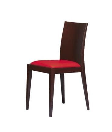 M07, Sedia in legno di faggio, per eleganti soggiorni e bar