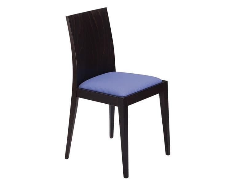 Masha/S, Sedia in legno con seduta imbottita per bar e ristoranti