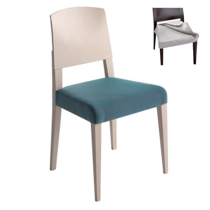 Sedia in legno massiccio seduta imbottita copertura in for Sedie stile moderno
