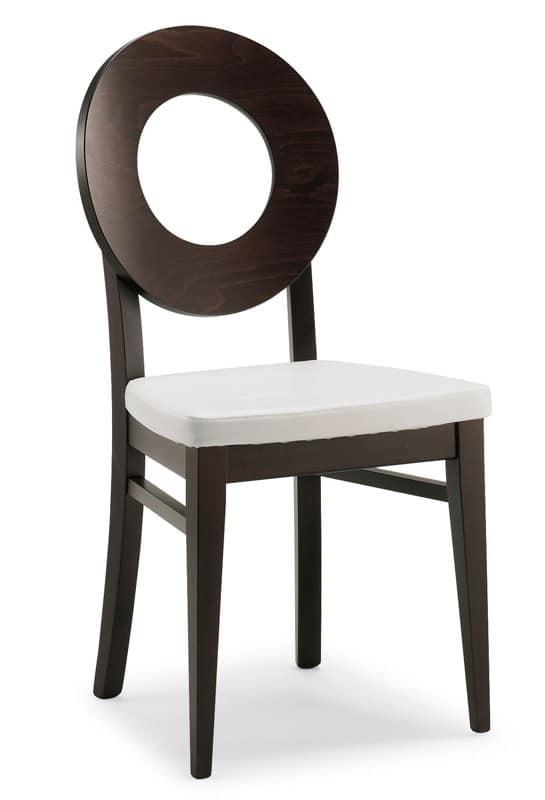 Sedia in legno rivestita in ecopelle stile moderno per for Case senza sale da pranzo