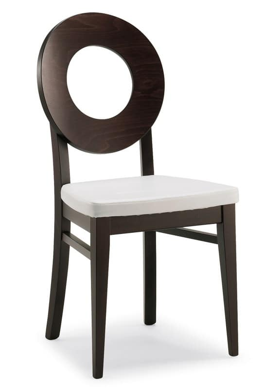 Sedia in legno rivestita in ecopelle stile moderno per for Sedie stile moderno