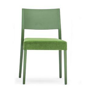 Sintesi 01513, Sedia in legno massiccio, seduta imbottita, stile moderno