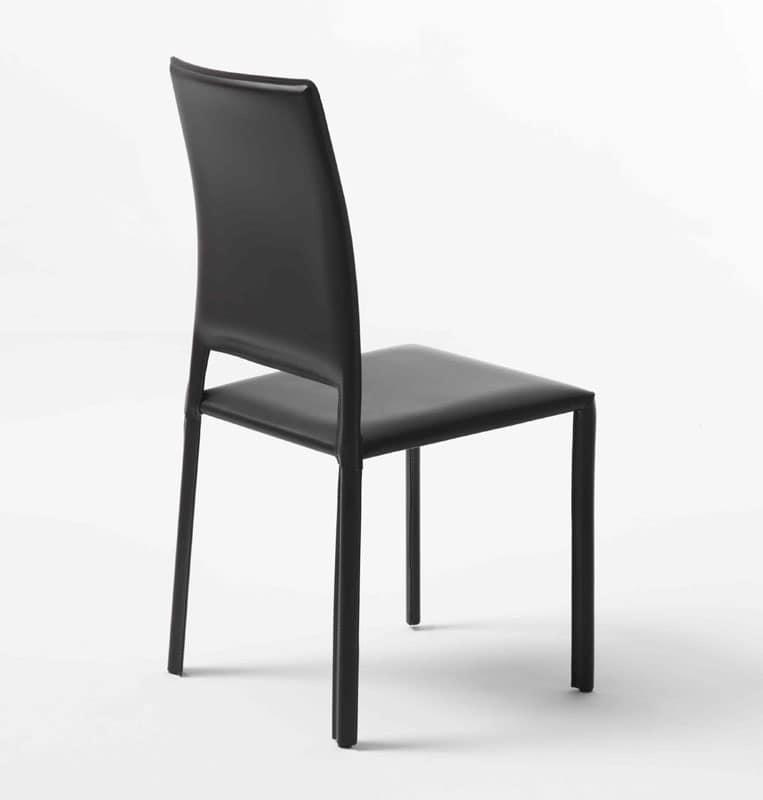 Sedia moderna rivestita in cuoio struttura in metallo for Sedia alta