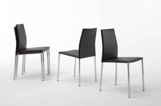 Sedia moderna impilabile in metallo e pelle per for Sedie da soggiorno in pelle