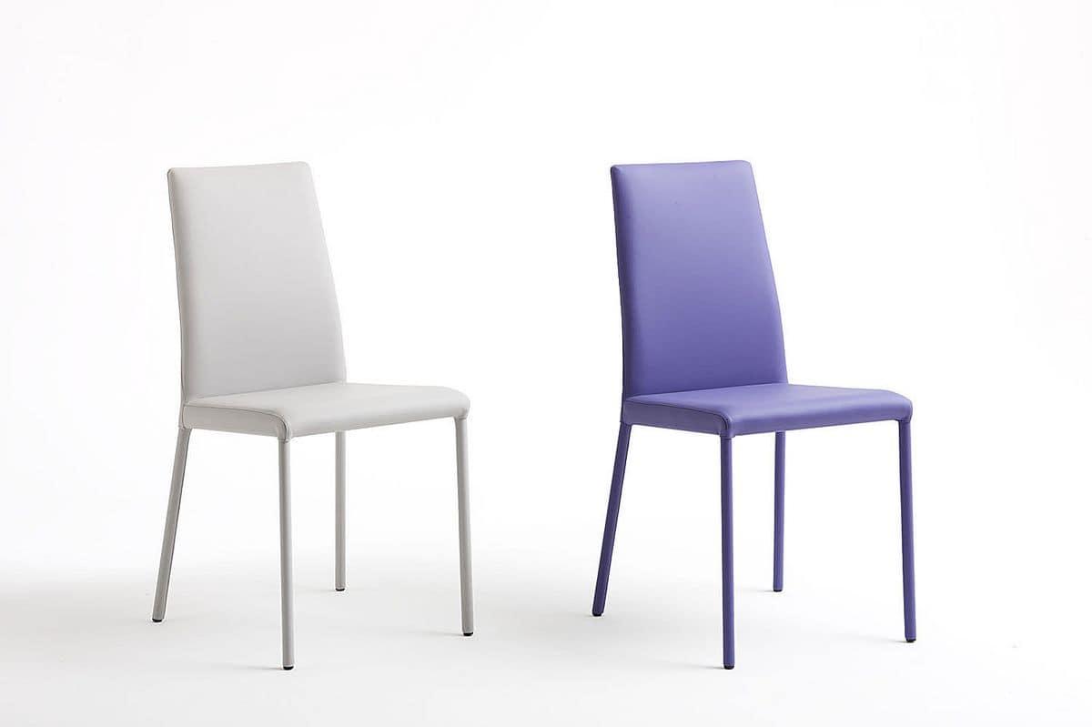 Sedia in metallo rivestimento nabuk disponibile in due for Pelle per rivestimento sedie