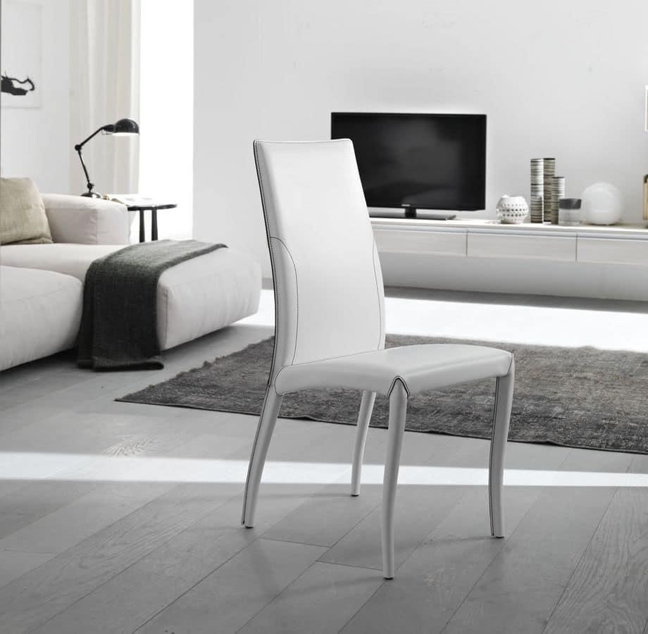 Elegante sedia, completamente rivestita in cuoio, per sala da ...