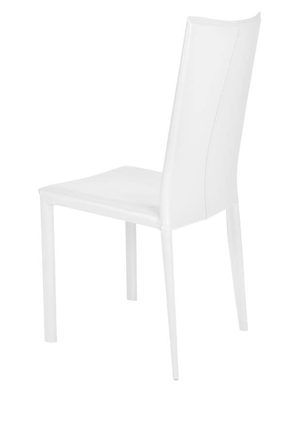 Sedia in pelle per sala da pranzo moderna idfdesign for Sedie in pelle per sala da pranzo
