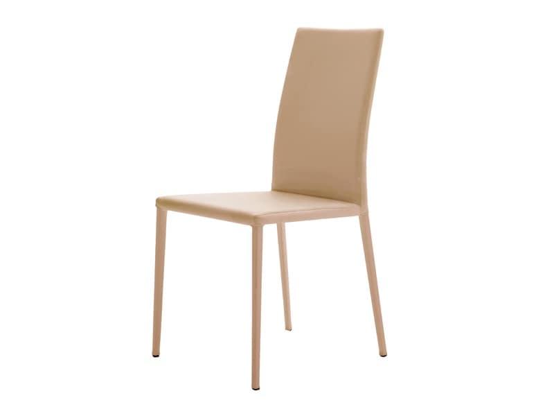 sedia completamente rivestita in pelle in stile moderno