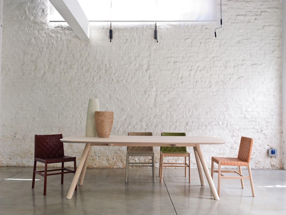 ART. 0020-CU JULIE, Sedia legno con intreccio in cuoio