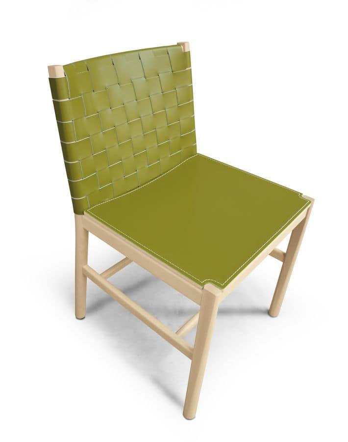 ART. 0020-CU-LE JULIE, Elegante sedia in legno e cuoio