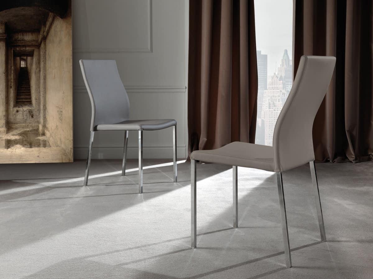 Sedia in metallo rivestimento in ecopelle di alta qualit for Sedie di pelle design