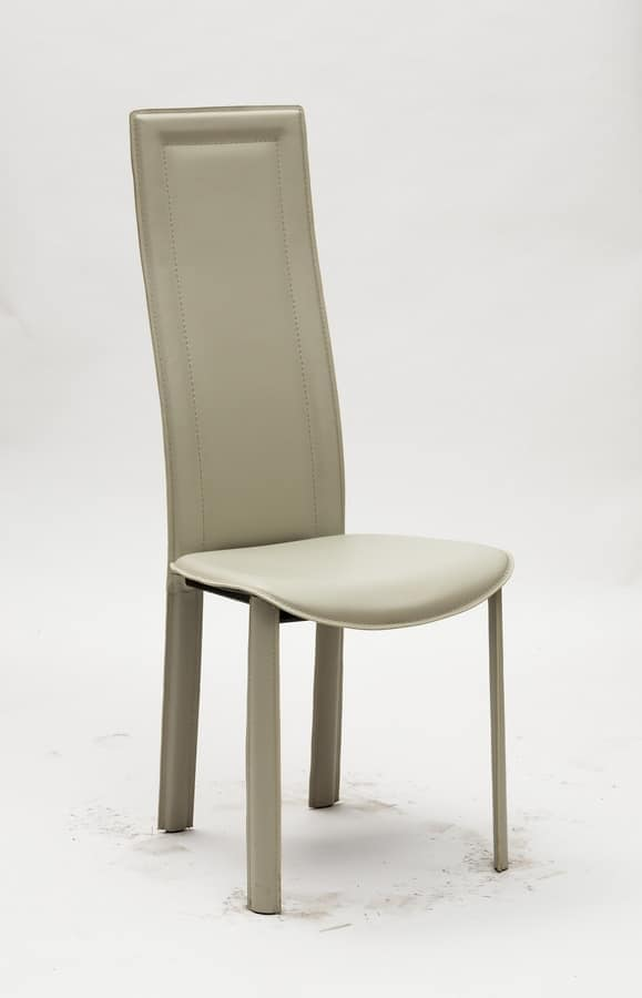 Sedia da pranzo con schienale alto, rivestita in eco cuoio