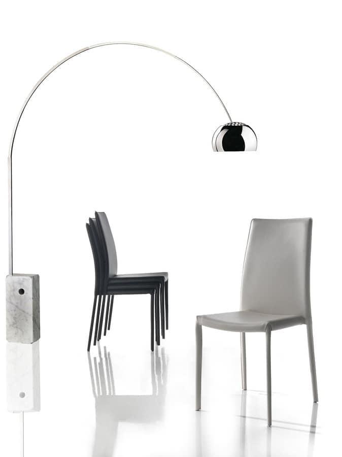 Sedia rivestita in PVC, per cucina e sala da pranzo   IDFdesign