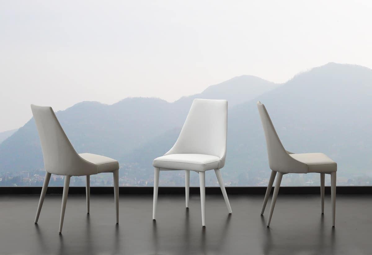 Sedia da pranzo per ristorante in ecopelle idfdesign for Sedie moderne design