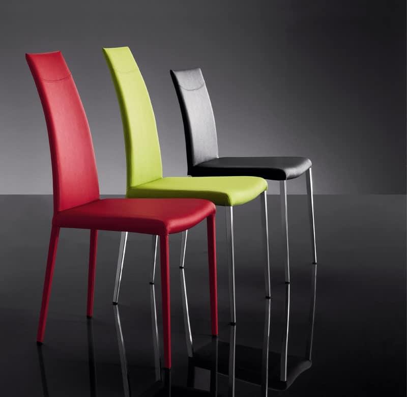 Sedia moderna rivestimento in pelle per albergo idfdesign for Sedia design srl