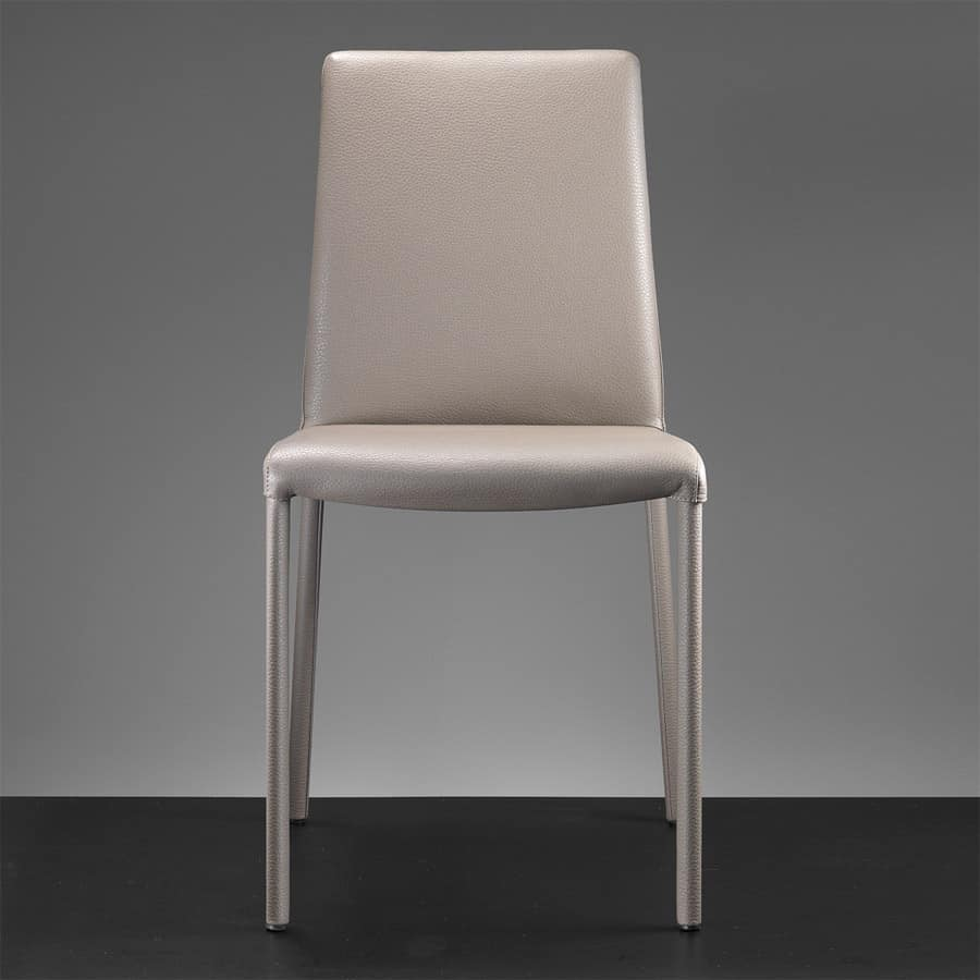 Sedia in metallo rivestita in pelle o ecopelle idfdesign for Sedie da pranzo design
