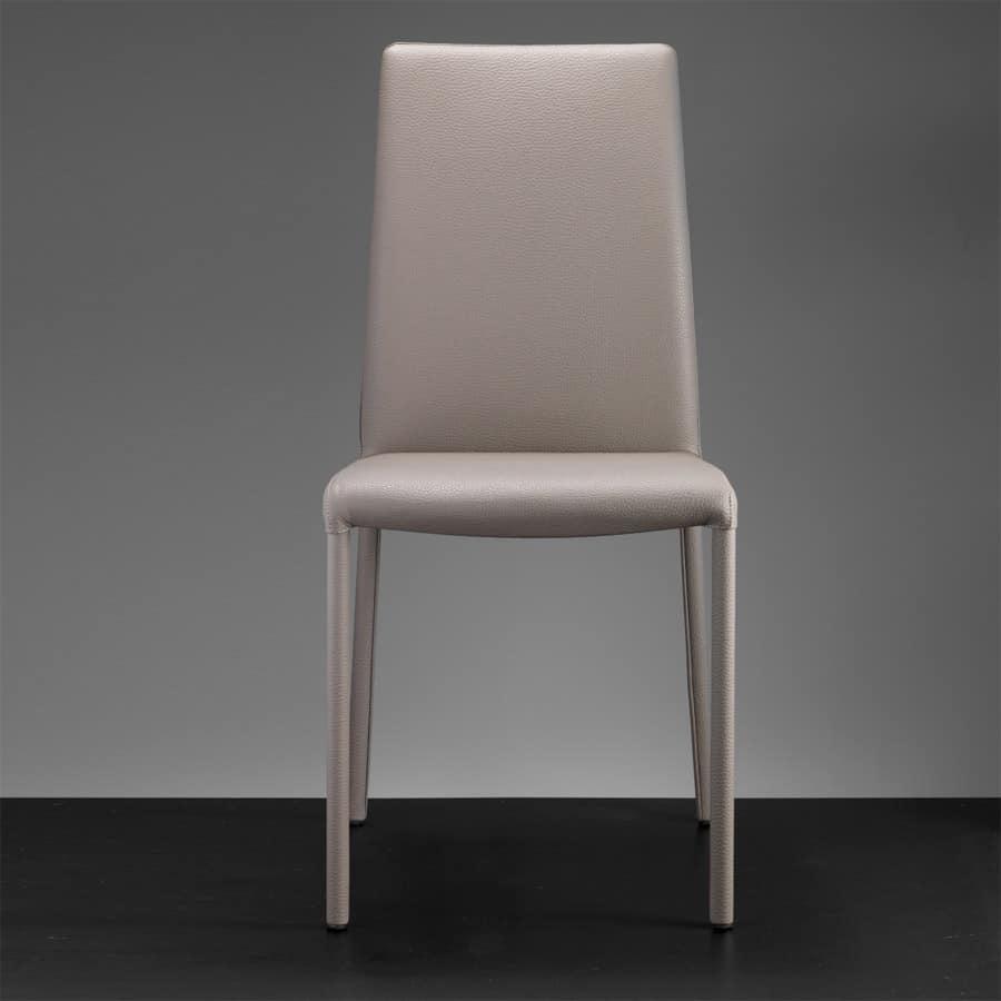 Sedia schienale alto casa sedie pelle bar ristorante for Sedie cucina pelle