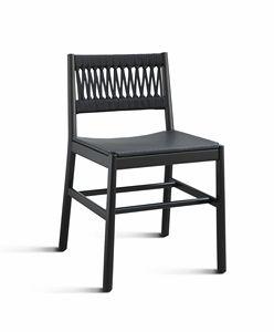 ART. 025-IN JULIE, Sedia con schienale intrecciato in corda, e seduta in pelle