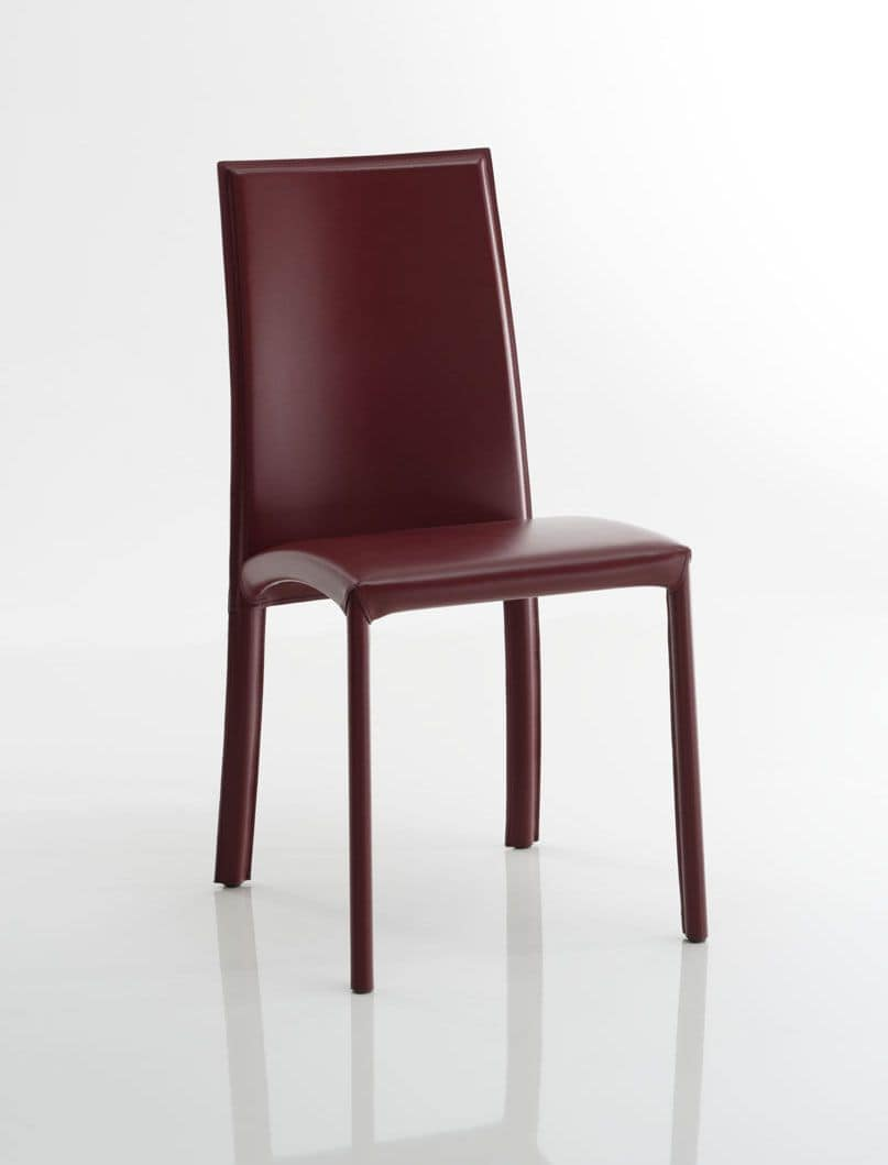 Sedia rivestita in cuoio struttura in acciaio per uso for Sedie in cuoio