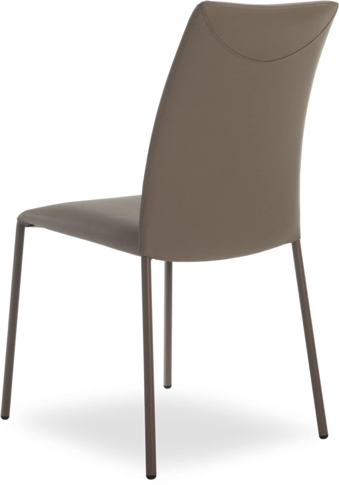 Sedia impilabile in metallo rivestimento in vera pelle for Rivestimento sedie
