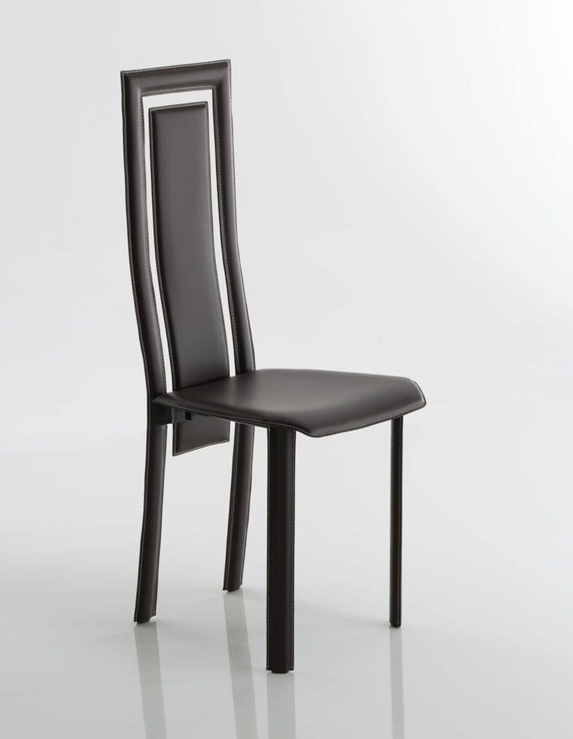 Sedia in cuoio originale schienale forato adatta per la for Sedia design originale