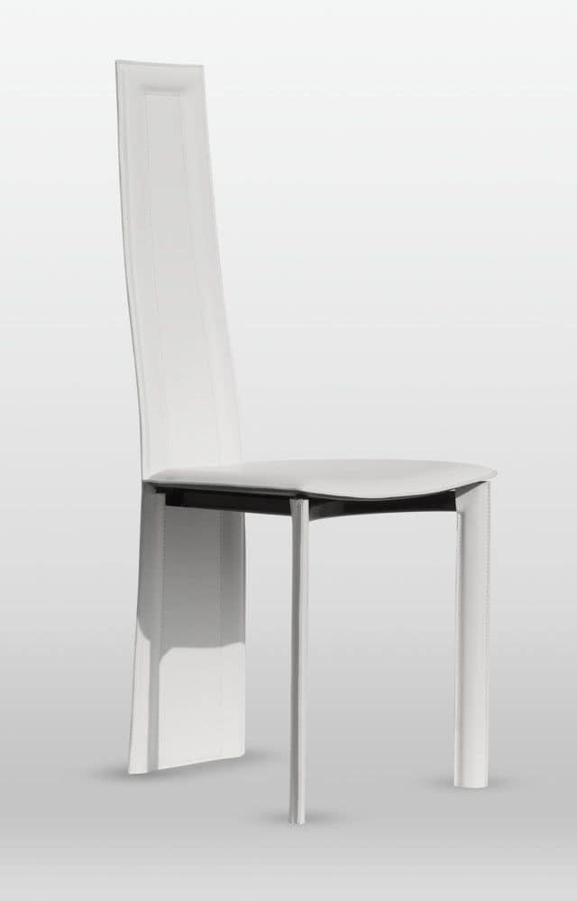 Calipso, Sedia per soggiorno, rivestimento in cuoio, gambe posteriori incluse nello schienale