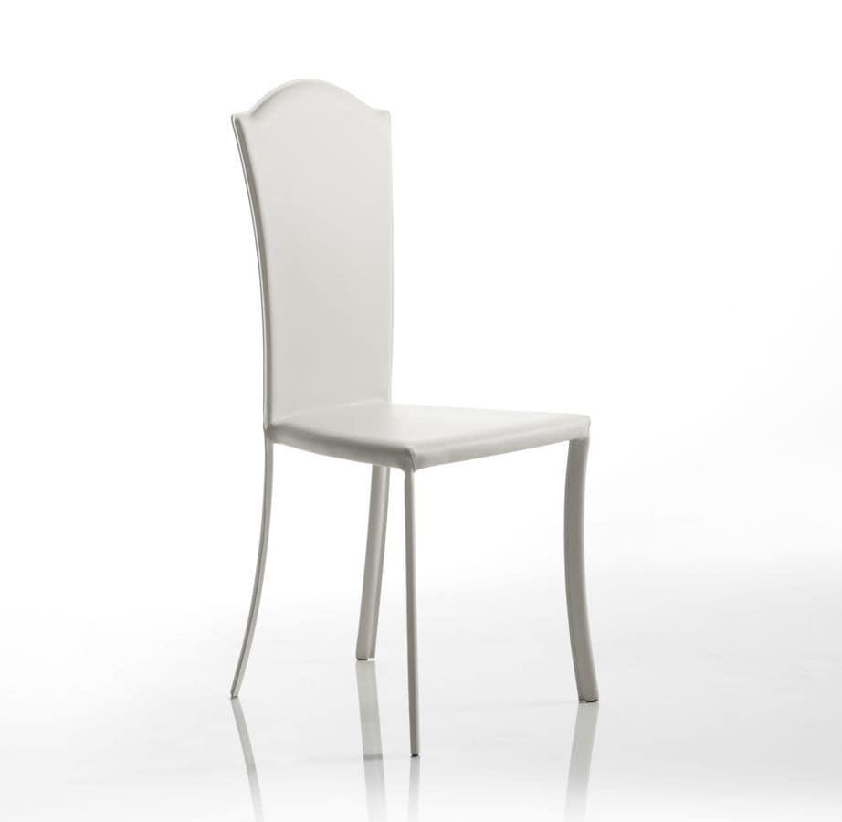 Sedia in cuoio, dalle linee classiche, per la sala da pranzo | IDFdesign
