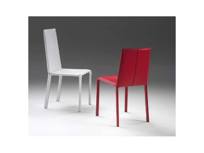 Sedia completamente rivestita in pelle per la casa - Sedie pranzo design ...