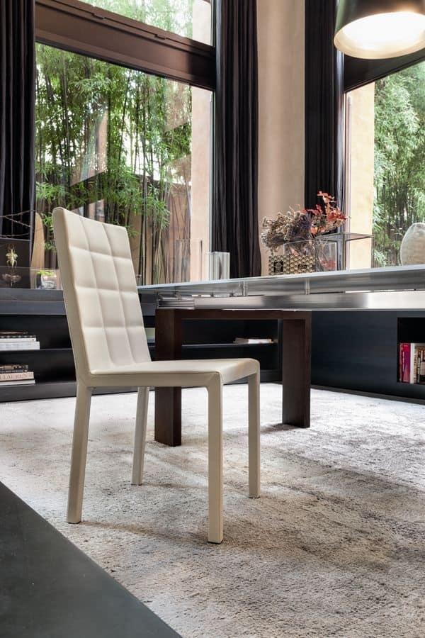 Sedia in metallo e legno imbottita in gomma idfdesign for Sedie pelle e legno