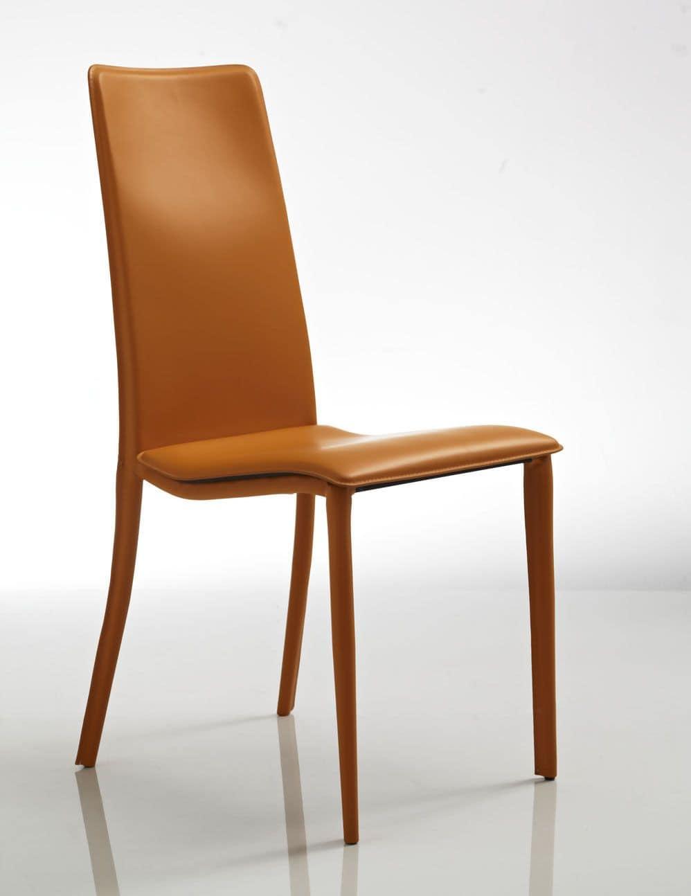 Cora, Comoda sedia, in cuoio arancione, per ristorante e albergo