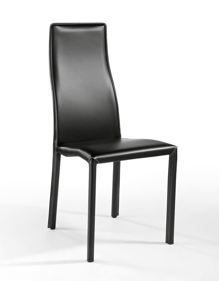 Sedia moderna rivestita in pelle leggerissima per bar for Sedia sdraio imbottita ikea