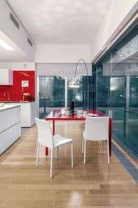 DALILA, Sedia da pranzo in metallo e pelle, semplice, soggiorno