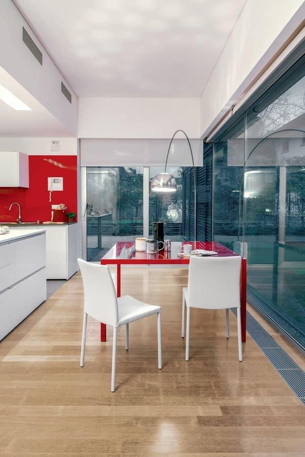 Sedia da pranzo in metallo e pelle semplice soggiorno for Sedia design srl