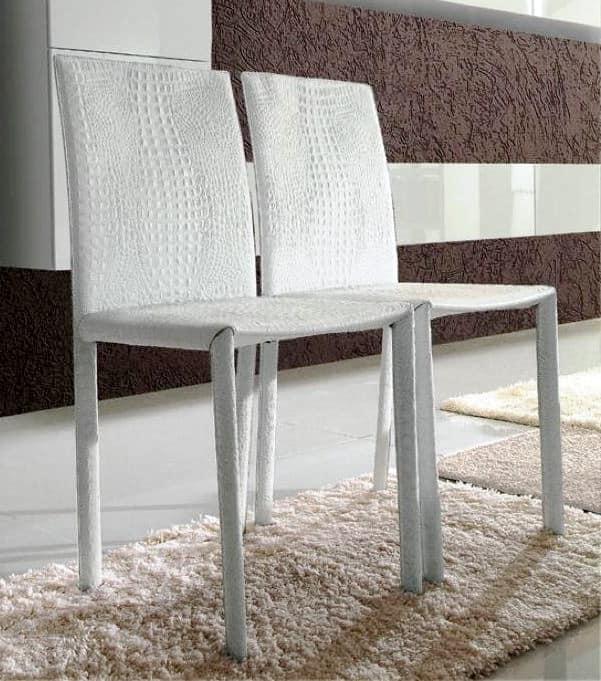 Sedute sedie moderne rivestite in pelle senza braccioli idf for Sedie per salone
