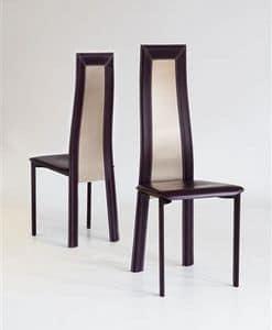 Elegance, Sedia da pranzo, con schienale alto, rivestimento in cuoio in vari colori