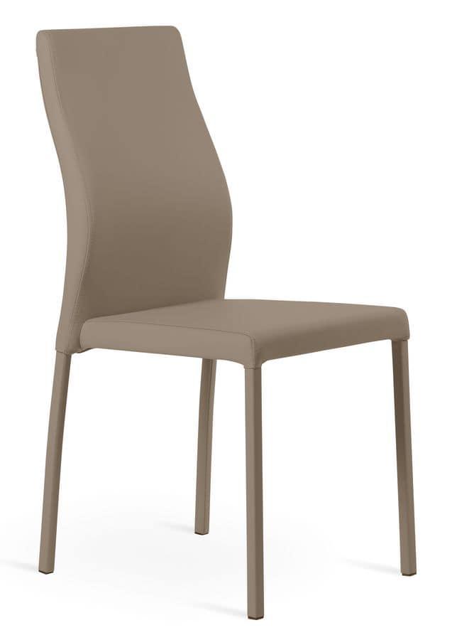 Sedia in metallo ed ecopelle comoda e rilassante idfdesign for Sedia design comoda