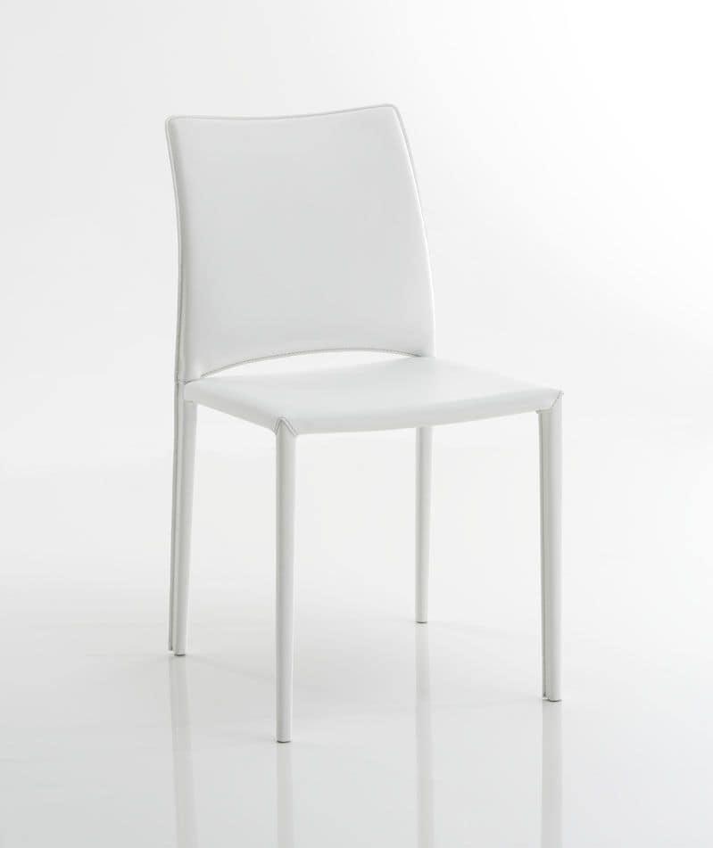 Sedia in cuoio bianco, con schienale basso, adatta per la cucina ...