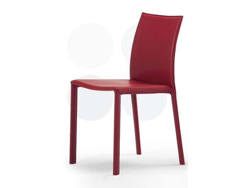 Sedute sedie moderne rivestite in pelle senza braccioli idf for Sedie imbottite per sala da pranzo