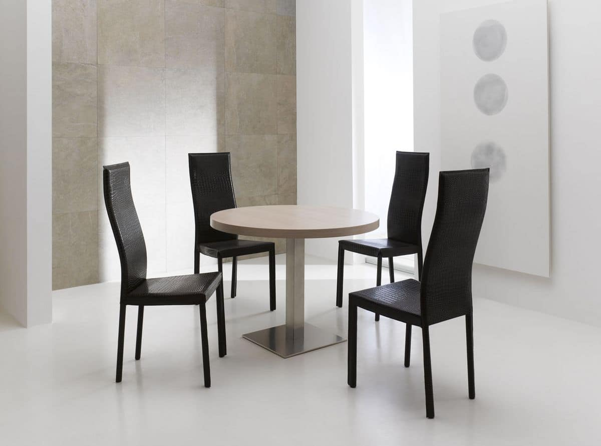 Sedia da pranzo, con schienale alto, rivestimento in cuoio | IDFdesign