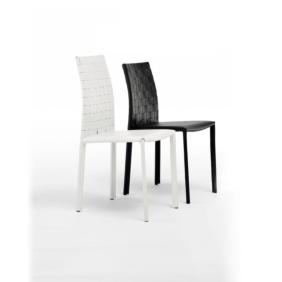 agata bassa intrecciata sedia pranzo metallo pelle