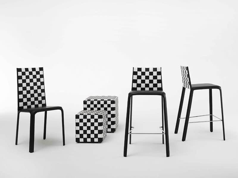 Sedia moderna in pelle, acciaio e gomma, per soggiorno | IDFdesign