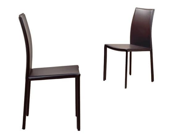 Sedia classica rivestita in pelle per sala da pranzo for Sedie pelle moderne