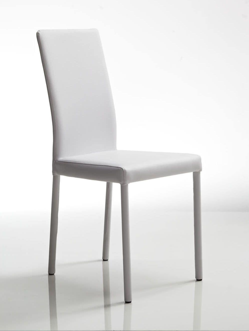 Sedia in pelle bianca, struttura in acciaio, per uso contract e ...