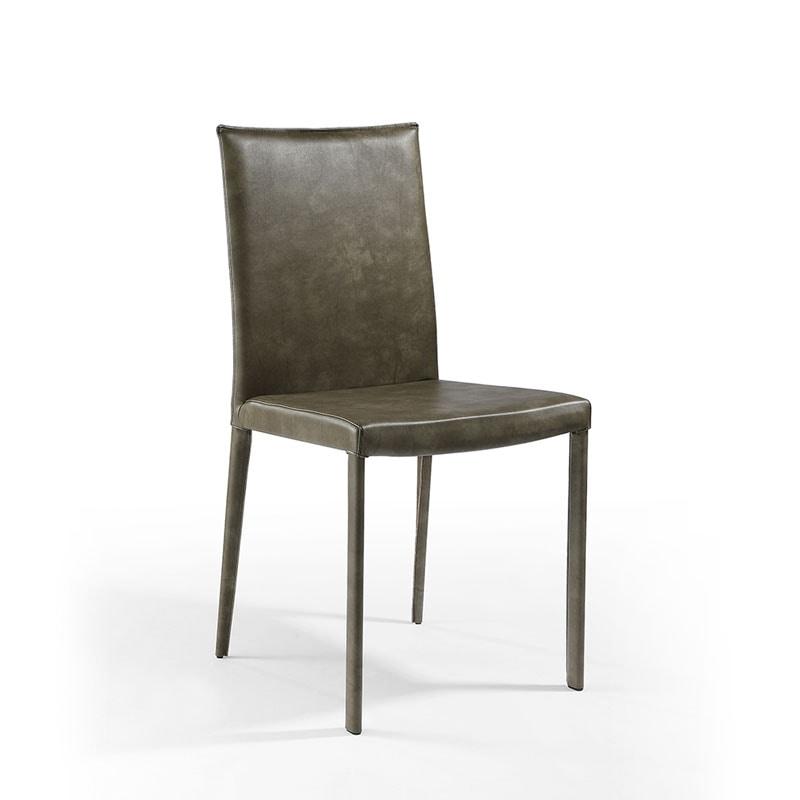 Sedia da pranzo imbottita in pelle per ristorante for Pelle per rivestimento sedie
