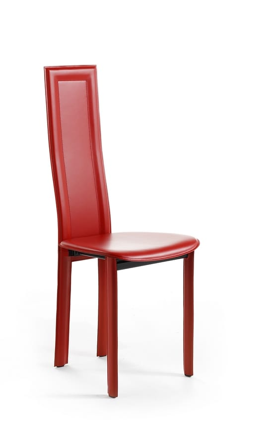Linda, Sedia in pelle, seduta tondeggiante, disponibile in diverse colorazioni