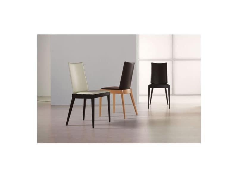Sedia imbottita in legno per salotti e sale da pranzo for Sedie da soggiorno in pelle