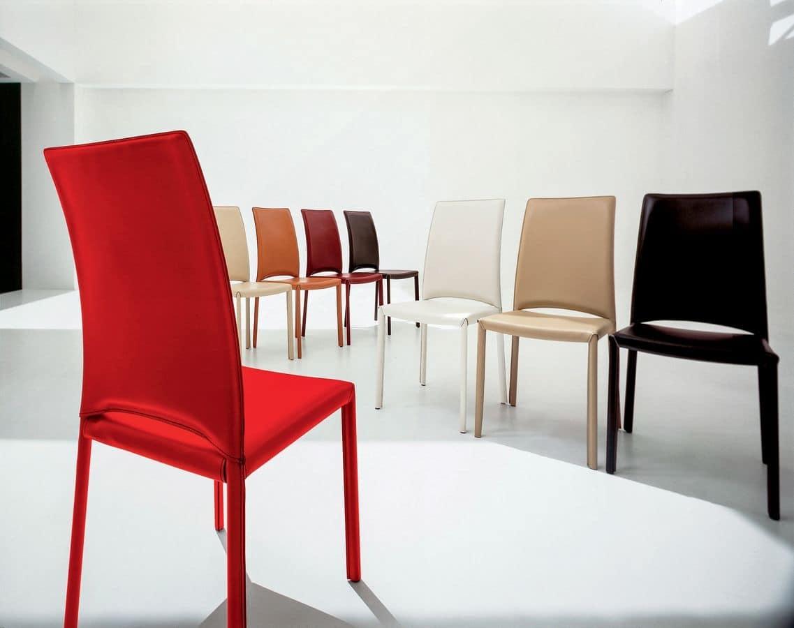 Sedia moderna in pelle per sala riunioni e ristoranti for Pelle per rivestimento sedie