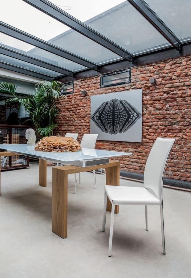 MADELEINE, Sedia moderna in pelle, per sala riunioni e ristoranti