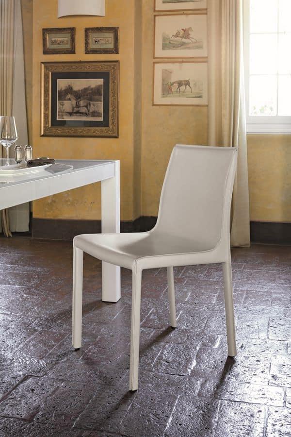 Sgabello Pelle Trapuntata Marsiglia : Sedia imbottita moderna adatta per bar e sale da pranzo