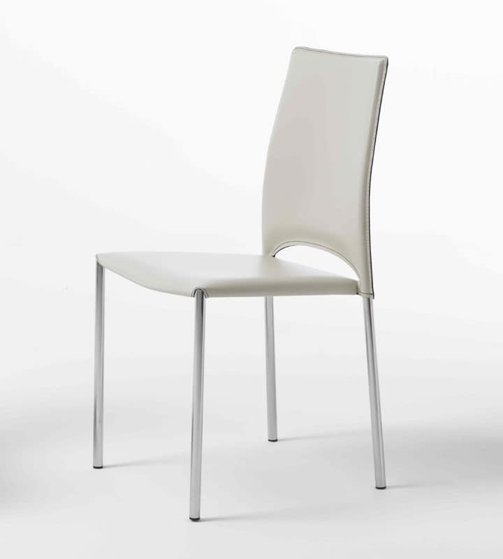 Sedia con gambe in metallo cromato scocca in cuoio for Sedie moderne pelle